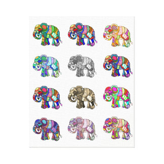 Variations of colorful ornamental elephants canvas print