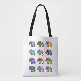 Variations of colorful ornamental elephants parade tote bag
