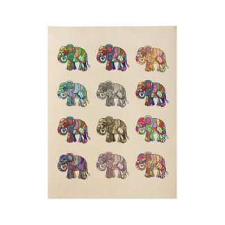 Variations of colorful ornamental elephants wood poster