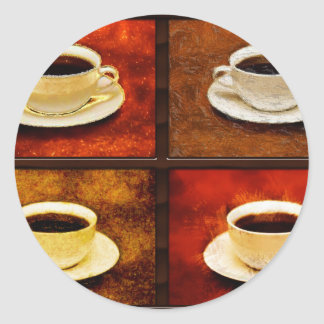 Variations on a Cup of Coffee -4 Different Styles Classic Round Sticker