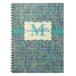 Varied Blue-Green Diamond Pattern & Monogram Note Books