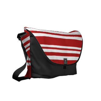 Varied Red and White Stripes, Black Trim Messenger Bag