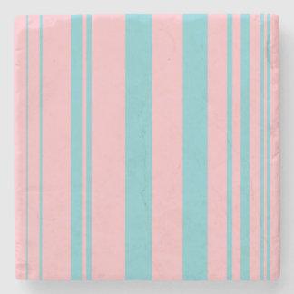 Varied Stripes/Pink & Robin Egg Blue Stone Coaster