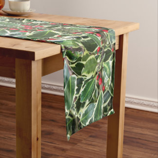 Variegated English Holly Floral Short Table Runner