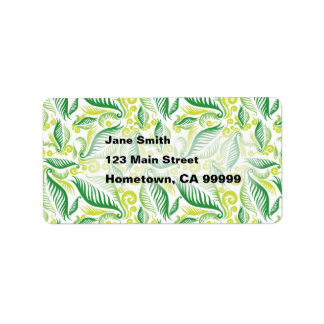 Variegated Green Ferns Address Label