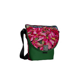 Variegated Potted Red Christmas Poinsettia Picture Commuter Bag