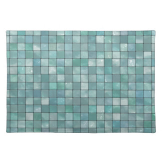 Variegated Teal Tile Pattern Place Mats