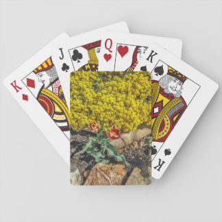 Variegated Tulips & Yellow Flowers - Mother's Day Playing Cards