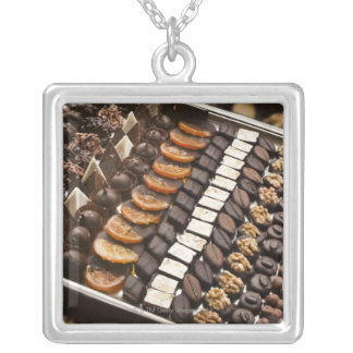 Variety of Artisanal Chocolate Pralines Silver Plated Necklace