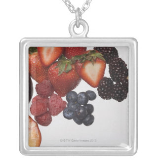 Variety of berries silver plated necklace