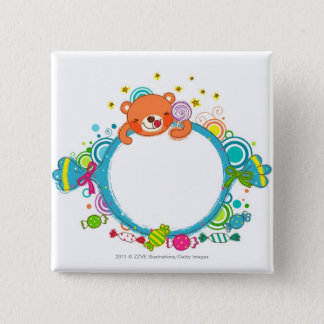 Variety of candies 15 cm square badge