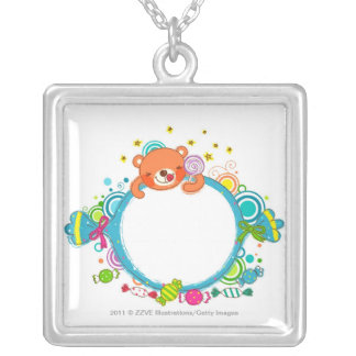 Variety of candies silver plated necklace