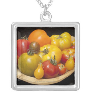Variety of tomatoes silver plated necklace