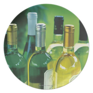 Variety of wine bottles plate
