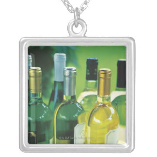 Variety of wine bottles silver plated necklace