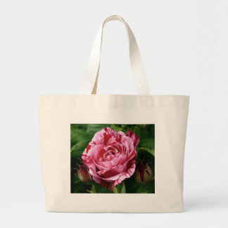 Varigated Pink and Red Rose Large Tote Bag