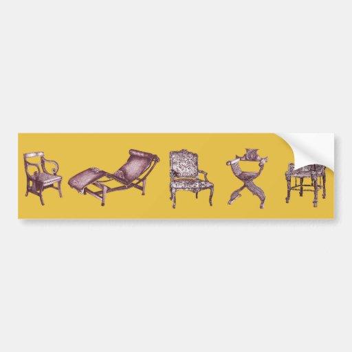 Various chairs in mustard bumper sticker