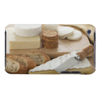 Various cheeses and bread on table Case-Mate iPod touch case