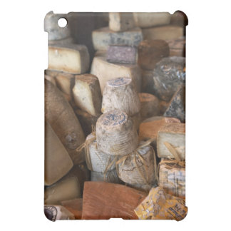 Various cheeses on market stall, full frame cover for the iPad mini
