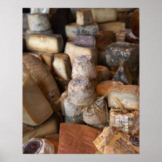 Various cheeses on market stall, full frame poster