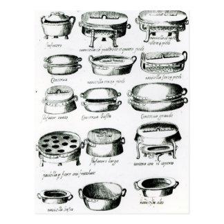 Various Cooking Vessels 1570 Postcard