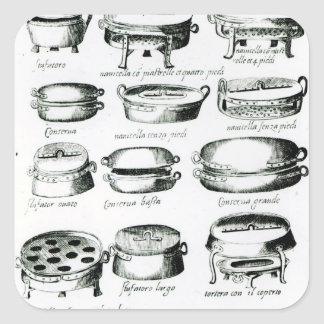 Various Cooking Vessels, 1570 Square Sticker