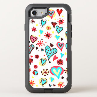 Various Cute Hearts Pattern OtterBox Defender iPhone 7 Case