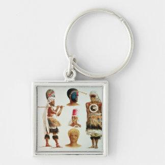 Various Dancing Costumes Worn at Nakello, Fiji Silver-Colored Square Key Ring