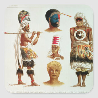 Various Dancing Costumes Worn at Nakello, Fiji Square Sticker