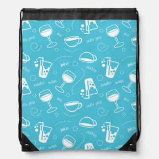 Various drinks drawstring bag