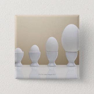 Various eggs in egg cups 15 cm square badge
