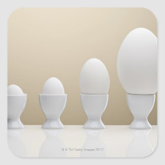 Various eggs in egg cups square sticker