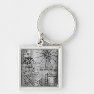 Various engines and instruments Silver-Colored square key ring