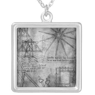 Various engines and instruments silver plated necklace