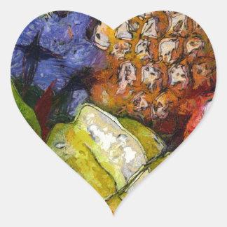 VARIOUS FRUITS HEART STICKER