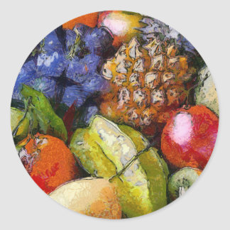 VARIOUS FRUITS ROUND STICKER