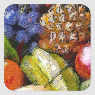 VARIOUS FRUITS SQUARE STICKERS