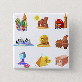 Various monuments of world 15 cm square badge