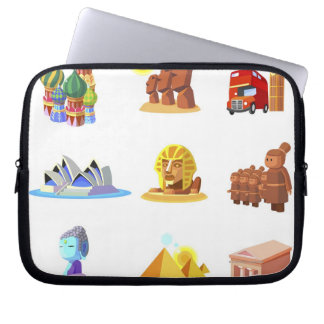 Various monuments of world laptop sleeve
