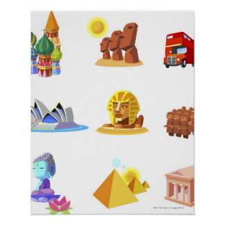 Various monuments of world poster