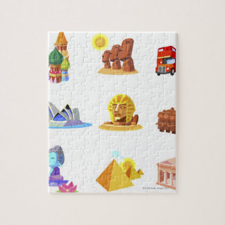 Various monuments of world puzzles