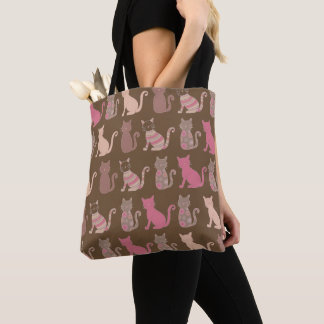 Various Multicolored Cat Silhouette Tote Bag
