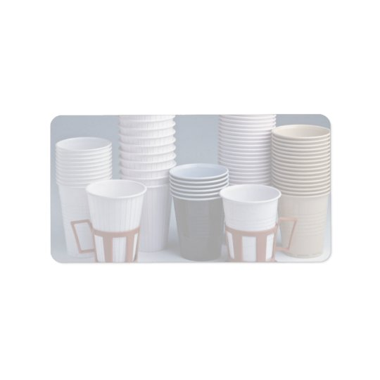 Various plastic drinking cups Photo Address Label