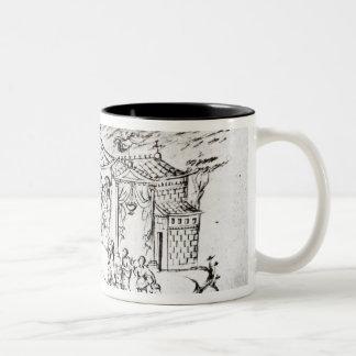 Various scenes illustrating a psalm coffee mug