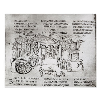Various scenes illustrating a psalm poster