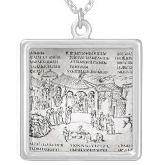 Various scenes illustrating a psalm silver plated necklace