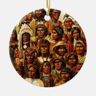 Various Tribes of Native American Indians Collage Christmas Ornament