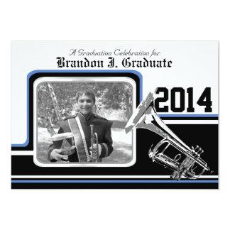Varsity Band Trumpet Graduation Photo Blue 13 Cm X 18 Cm Invitation Card
