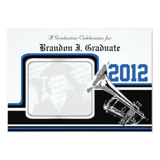 Varsity Band Trumpet Graduation Photo Blue Custom Invite