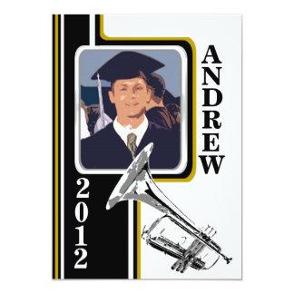 "Varsity Band Trumpet Photo Graduation Gold Stripe 5"" X 7"" Invitation Card"